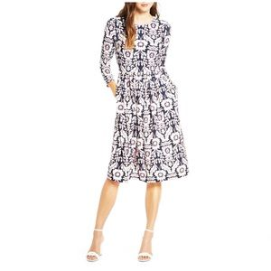 Eliza J Floral Print Fit & Flare 3/4 Sleeve Dress